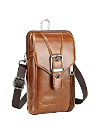 Sunmig Genuine Leather Small Messenger Shoulder Bag Crossbody Belt Pouch for Travel Hiking Camping Outdoor (9302)