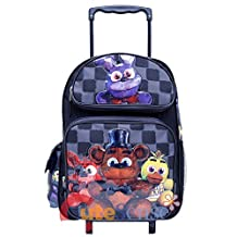 """Five Nights At Freddys Large School Roller Backpack 16"""" inches Trolley Rolling Bag"""