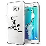 Funda Samsung Galaxy S6 EDGE Case ultrafino diseño de dibujos lindo TPU Parachoques Anti-Arañazos Anti-huella dactilar a prueba de choque case protectora para Jugando al fútbol perro (Jugando al fútbol)