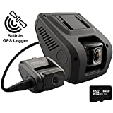 Rexing V1LG Dual Channel Car Dash Cam FHD 1080p 170° Wide Angle Dashboard Camera Recorder with HD Rear Camera, Built-in GPS Logger, 16GB Memory Card, G-Sensor, WDR, Loop Recording