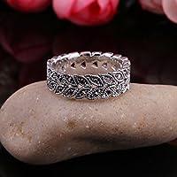 Nattypat Vintage Antique Silver Marcasite Style Leaf Vine Band Ring w/ Gunmetal Diamantes (9)