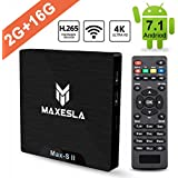 TV Box Android 7.1 Newest - Maxesla MAX-S II Smart TV Box with 2GB RAM + 16GB ROM, Upgrade Amlogic S905W Chipset, True 4K UHD Playing, Support H.265 Video Decoder, 2.4GHz Wifi TV Box + Remote Control