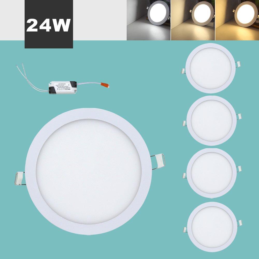 Hengda® LED Einbaustrahler Deckenleuchten, Ultra slim mit Trafo, Runde Panel Deckenleuchte Einbauleuchte Downlight, 3 Modi Lichtfarbe wechselbar, AC 86-265V (Rund 24W5)