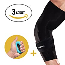 AGPtek Elbow Brace + Elbow Sleeve+Hand Grip(1-count each) - Reduces Inflammation & Pain for Tennis Elbow - Best Forearm Brace with Gel Pad & Elbow Support