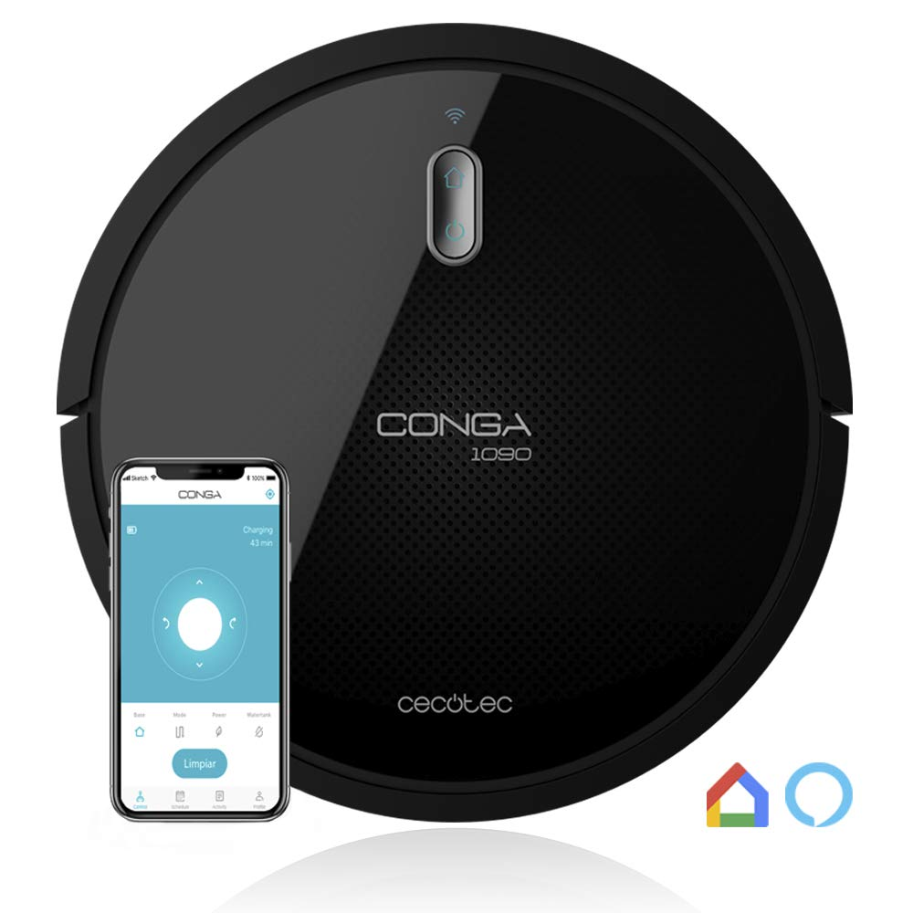 Cecotec Conga Serie 1090 Connected Robot Aspirador, Con App, Alexa y Google Home, Cepillo Especial Mascotas, Mando a Distancia, Muro magnético, 1400 Pa product image