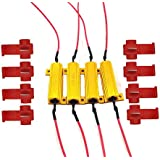 CUTEQUEEN TRADING 4pcs 50W 6Ohm LED Load Resistors for LED Turn Signal Lights or LED License Plate Lights or DRL (Fix Hyper Flash, Warning Cancellor) (pack of 4)