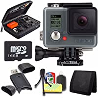 GoPro HERO+ LCD + 16GB microSD Memory Card + Case for GoPro HERO4 and GoPro Accessories + 6pc Starter Kit Bundle