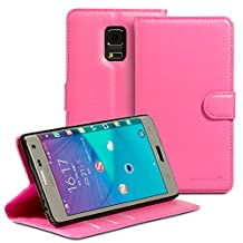 Fosmon® Galaxy Note Edge CADDY-DÉMODÉ Leather Multipurpose Wallet Case for Samsung Galaxy Note Edge (Hot Pink)