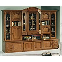 China Cabinet, large, solid filled Oak wood, hutch with glass display and lots of storage