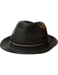 Mens Poly Braid Pinch Front Fedora With Fancy Band Black MD One Size