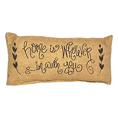 Country House Collection Primitive Burlap Jute 12  x 6  Throw Pillow (Home is Wherever I'm With You)