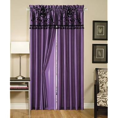Cozy Beddings Violeta 2-Panel Floral Flocking Window Curtain/Drape Set, Purple and Black