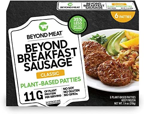 Beyond Breakfast Sausage from Beyond Meat, Plant-Based Patties, Frozen, 6 Patties per 7.4 oz Box, Classic Flavor