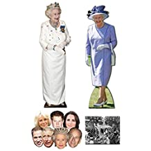 "Queen Elizabeth II 90th Birthday Commemorative Pack C - includes 2 x Cardboard Cutouts, 7 x Masks and 8x10"" Photo"