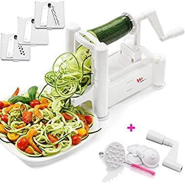 WonderVeg Vegetable Spiralizer - Tri Blade Spiral Slicer – Cleaning Brush, Mini Recipe Book and 6 Spare Parts Included - Zucchini Spaghetti Pasta Noodle Maker