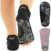 ellaste Yoga Calcetines–Open Toe anti Skid Grip–Calcetín para Yoga Pilates Barre Antideslizante para Mujer Chica
