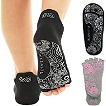 Ellaste Non Slip Yoga Socks – Open Toe and Closed Toe Anti Skid Grip Sock for Yoga Pilates Barre – for Women Girls Men Boys