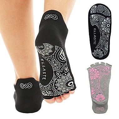 Ellaste Yoga Socks – Open Toe Non Slip Anti Skid Grip Sock for Yoga Pilates Barre – for Women Girl (Black, Large (Women 9~12, Men 8~11))