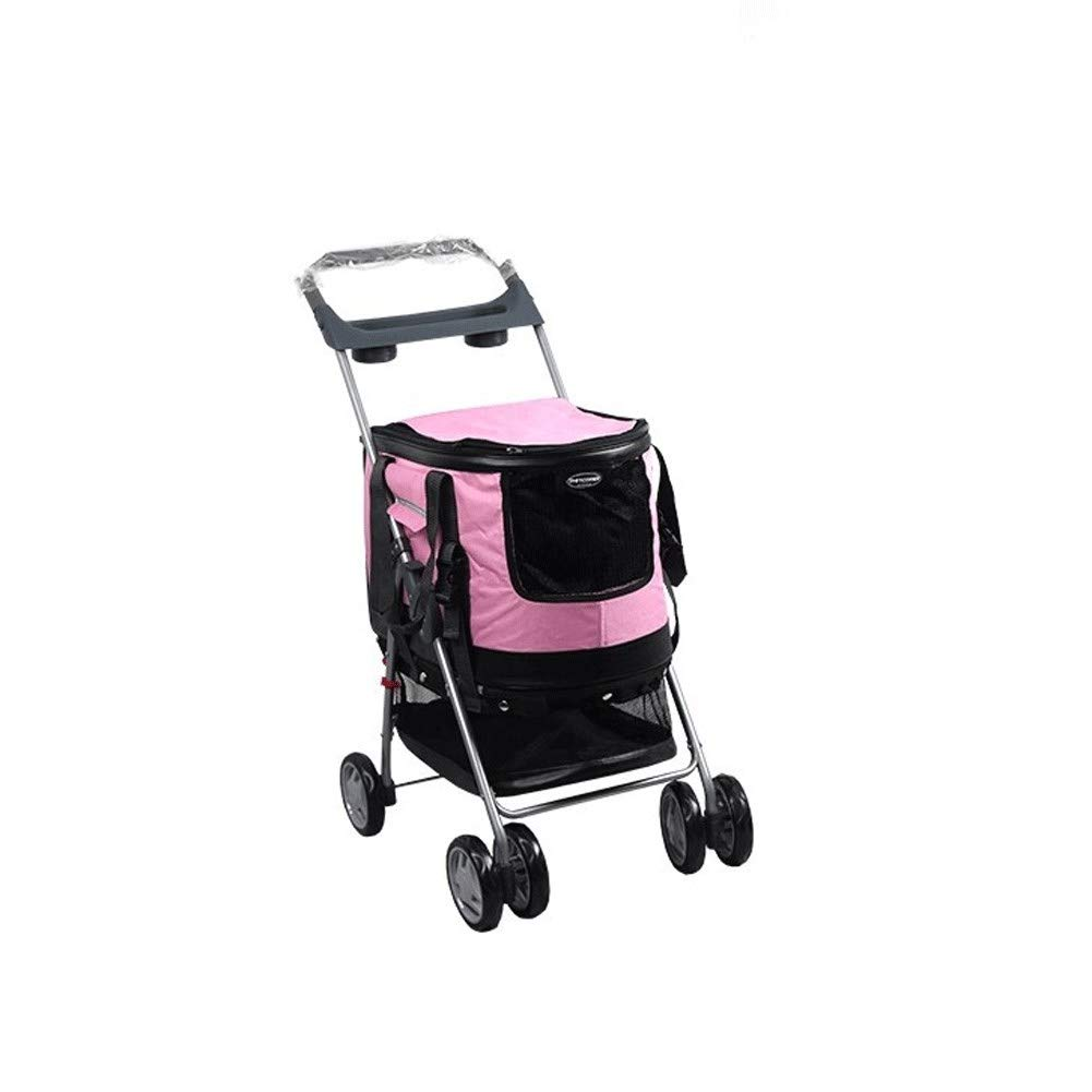 Pink Y-only 4 Wheel Pet Stroller for Small-Medium Cat Dog and More Travel Folding Carrier with Cup Holders and Removable Liner 46×84×94.5 cm,Pink