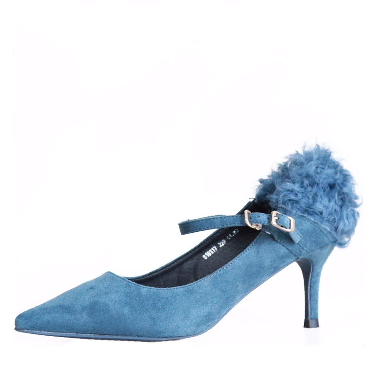 KPHY Damenschuhe/Herbst Pfennigabsätze High Heels 5Cm Damenschuhe Mode Damenschuhe 5Cm Sagte Flach Mund Einzelne Schuhe.37 Blaue Farbe - ce77fb
