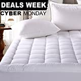 """Cal King (8""""-21"""" Deep Pocket) Fitted Mattress Pad - Luxurious 300TC 100% Cotton Top - Storm ..."""