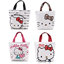 Finex - Set of 2 - Hello Kitty Canvas Zippered Tote with Top Carry Handles - Lunch Box Bag Gym Tote (Random Color)