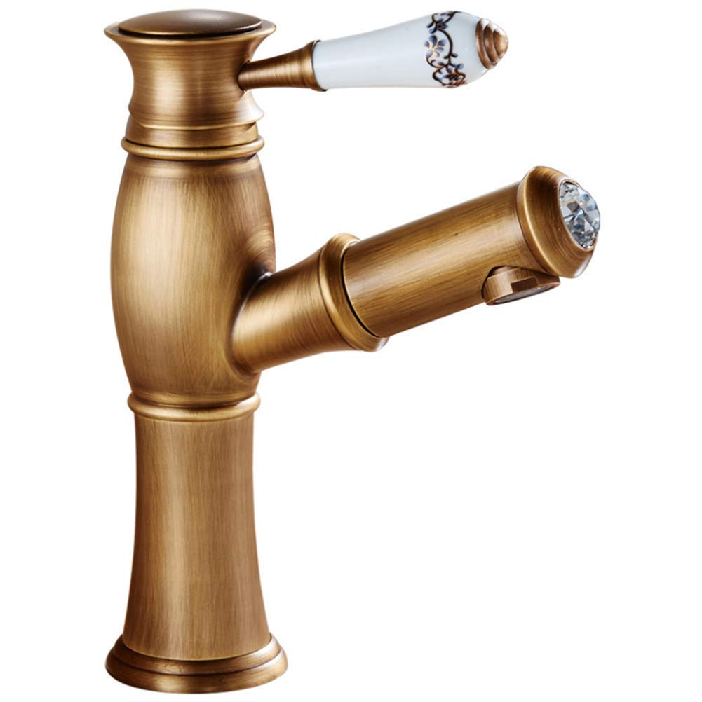 Basin Faucet Single Handle Single Hole Hot and Cold Water Pumping Water Saving Bubbler Nozzle Mouth Wash Sink Sink Faucet Copper Bathroom Counter Faucet