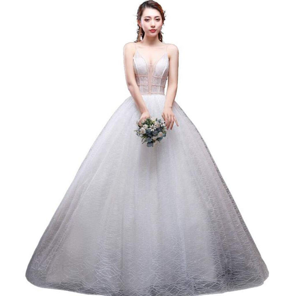 White Bridal Wedding Wedding Sling Simple VNeck Voile Light Slim Slim Long Tail Sexy Wedding Dress (color   White, Size   L)