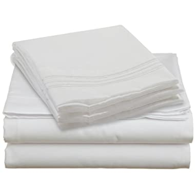 1500 Count Deep Pocket 4 Piece Bed Sheet Set - 12 Colors Available in All Sizes (King, White)