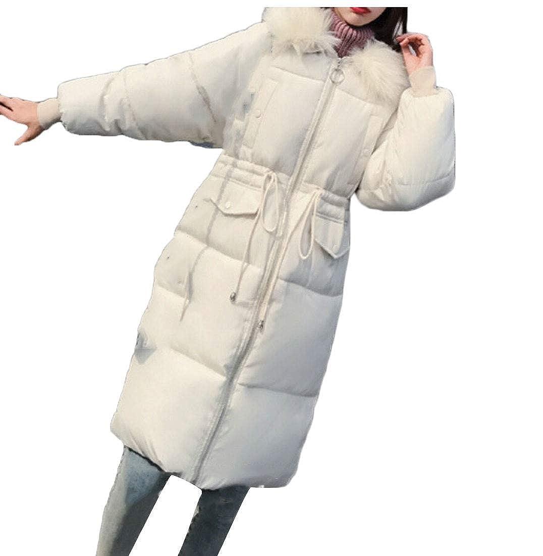 1 Keaac Womens Faux Fur Hooded Warm Down Coats Long Down Jackets