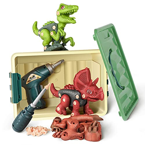 Dinosaur Toys for 3 4 5 6 7 Years Old Boys, Take Apart Dinosaur Toys for Kids, STEM Toys for 4 Years Old Boy, Construction Building Toys with Electric Drill, Dinosaur Toys for Kids 3-5, Birthday Gifts