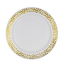 Party Essentials N712425 Hard Plastic 7.5-Inch Divine Dinnerware Disposable China Salad/Dessert Plates with Lace Rim, White/Gold, 24-Count