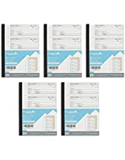 Blue Summit Supplies Triplicate Receipt Book, 100 per Book, 500 Total, 5 Pack, 3 Part Carbonless Payment Receipt Books for Money, Rent, or Cash with White/Yellow/Pink Copies, 11 x 7.5 inch,