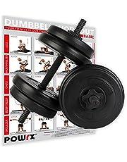 POWRX Dumbbellset van 2 x 20kg/30kg/40kg I Halter set met gekartelde en veilige staven met stersloten I dumbbell gewichten I instelbaar halters