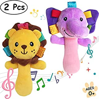 Cartoon Stuffed Animal Baby Soft Plush Hand Rattle Squeaker Sticks for Toddlers - Elephant and Lion