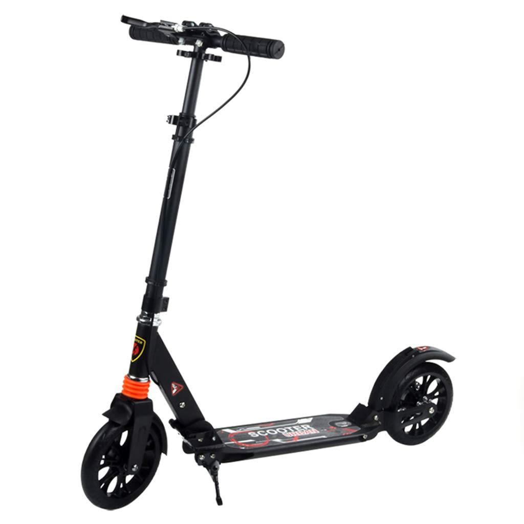 キックボード キックスクーター ハンドブレーキ、大きな車輪付きスクーター、10歳以上の子供向けの誕生日プレゼント、少年少女、100kgサポート、非電気 (色 : 黒) 黒