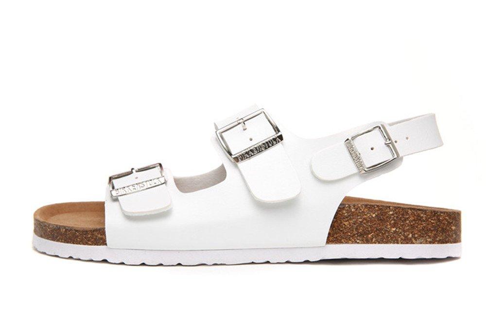 Dos Correas Sandalias Moda Hombres Zapatos De Playa Corcho Zapatillas de pie Flip Flop Sandalias Antideslizantes. 8.5UK/9US/43EU|Blanco