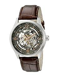 Stuhrling Original Men's 730.02 Classic Delphi Denmark Automatic Skeleton Brown Leather Strap Watch