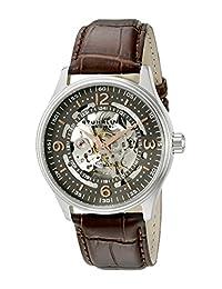 Stuhrling Original Men's 730.02 Classic Delphi Denmark Automatic Skeleton Brown Leather Strap Watch