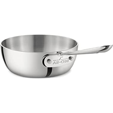All-Clad 4211 Stainless Steel Tri-Ply Bonded Dishwasher Safe Saucier Pan / Cookware, 1-Quart, Silver