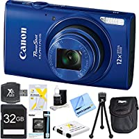 PowerShot ELPH 170 IS 20MP 12x Opt Zoom Digital Camera - Blue 32 GB Bundle - Includes Camera, 32GB SD Memory Card, USB Card Reader, Battery, Deluxe Carrying Case, 5