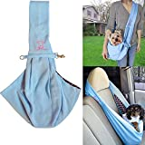 Petty Love House Hands-free Reversible Small Dog Cat Sling Carrier Bag Travel Tote Soft Comfortable Double-sided Pouch Shoulder Carry Handbag (blue)