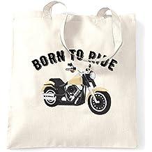 Born To Ride Motorcycle Motorbike Slogan Tote Bag