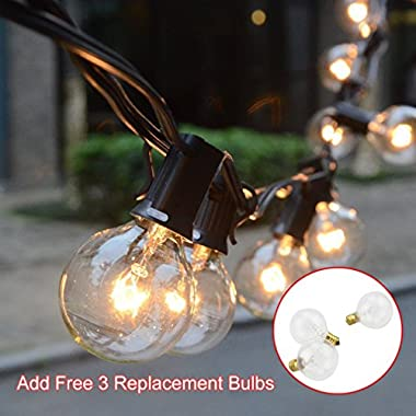 [Free 3 Replacement Bulbs] Noza Tec 50Ft (2*25Ft) Globe String Lights with 53 Clear G40 Bulbs - Perfect for Indoor / Outdoor Decor (Black)