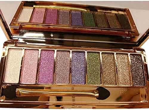 Kikole 9 colors Waterproof Diamond Bright Makeup Eye Shadow Set Glitter Eyeshadow Palette with Brush