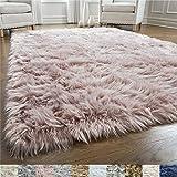 Gorilla Grip - Alfombra de piel de oveja sintética, suave, para la sala, dormitorio, muy suave, agradable al tacto, decoración moderna de lujo para habitación, Dusty Rose, 2' x 4' Rectangle, 1