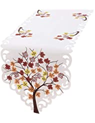 Simhomsen Thanksgiving Holiday Table Runners, Embroidered Maple Tree Leaves 13 × 68 inch