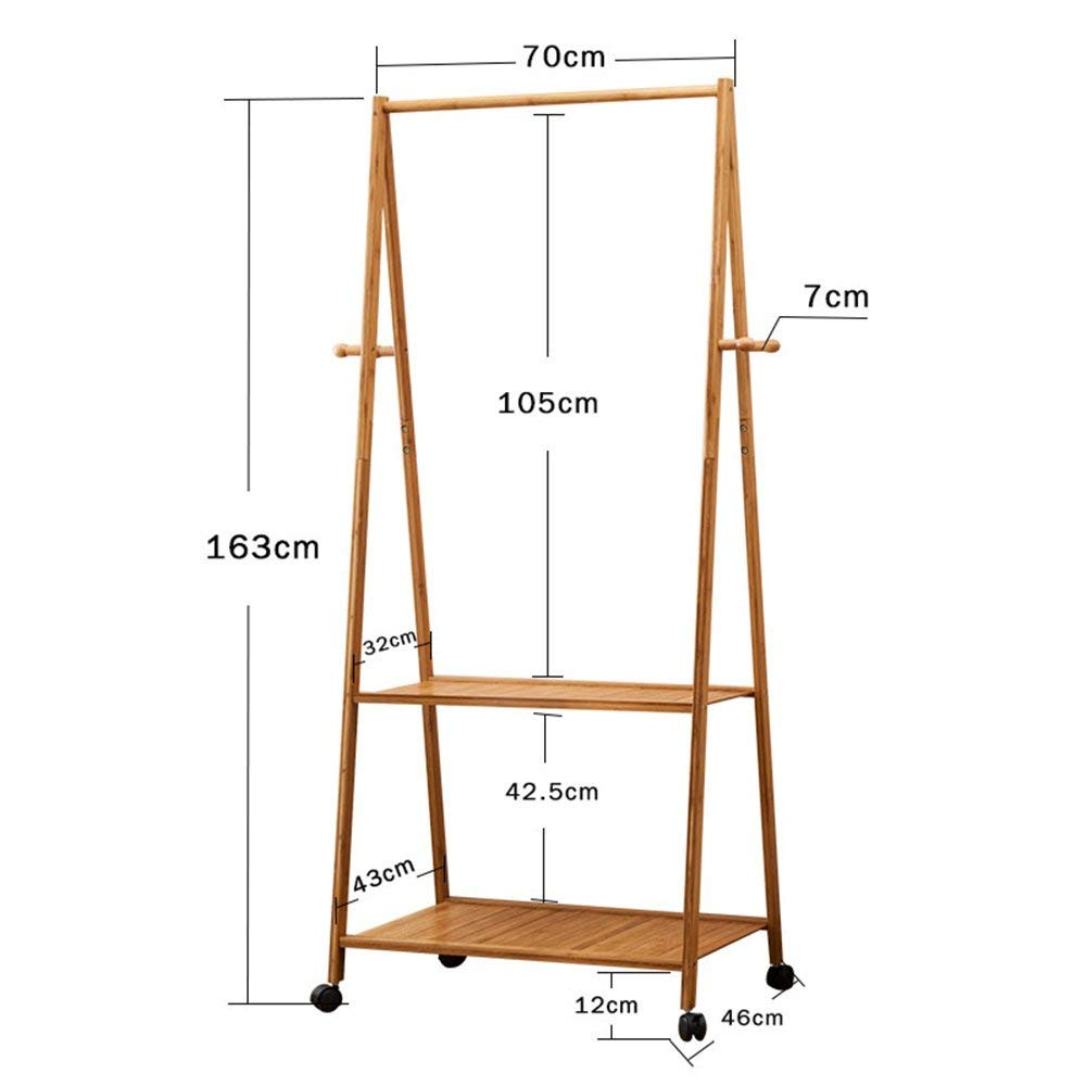 B 16370cm DYR Coat Racks Coat Hangers in Artistic Bamboo 3 Shelves Storage Racks 4 Hooks Mobile Room Stable and Resistant Coat Hanger (color  163  90cm, Dimensions  A)