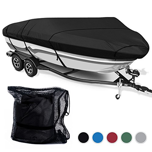 Kingpin Accessories 600D Polyester 5 Colors Waterproof Trailerable Runabout Boat Cover Fit V-hull Tri-hull Fishing Ski Pro-style Bass Boats,Bang Size (20'-22'L Beam Width up to 100'', Black)