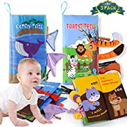 JX 3 Pack Soft Baby Cloth Books,Touch and Feel Crinkle Tail Books,Infants & Toddler Early Children Develop
